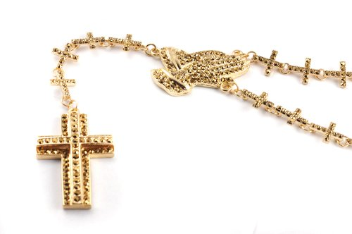 New! Iced Out Cross Linked Chain Rosary w/ Praying Hands & Paves Cross GOLD