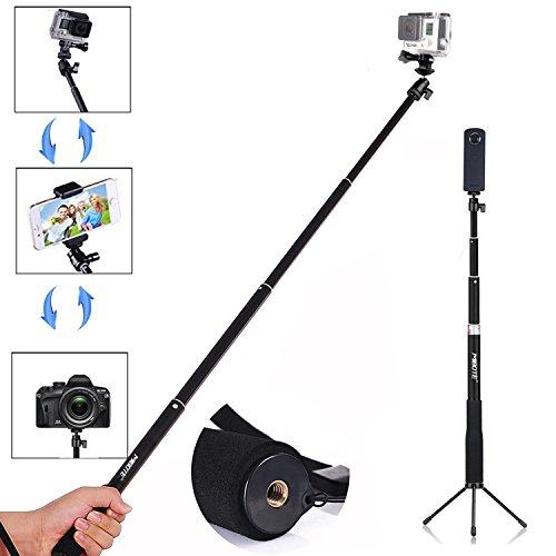 MIBOTE 伸縮ポール 自由伸縮自撮り棒 デジカメ/スポーツカメラ/GoPro/RICOH/スマートフォン使用可能 伸縮自在 防水 防錆 iPhone全機種 AQUOS DOCOMO XPERIAなどのAndroidスマートフォン対応 RICOH THETAS 360°デジタルカメラ、 OLYMPUS TG-4 Tough、 HERO Session GoPro 4/3+/3/2/1など1/4ネジ穴コンパクトカメラに対応でき自撮棒+折りたたみ3脚サポートスタンド ブラック