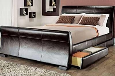 5ft king size leather sleigh bed with storage 4X drawers Brown by
