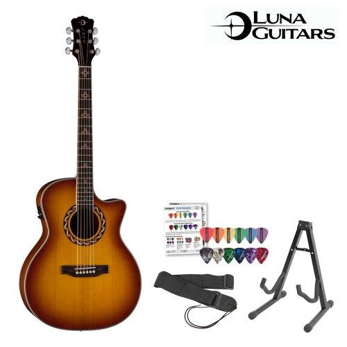 Luna Guitars Americana Zia 100 (Amz -100Usb) Acoustic-Electric Guitar With Stand, Strap & Pick Sampler