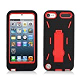Black Red Heavy Duty Hybrid Hard Soft Cover Case with Stand for Apple Ipod Touch 5th Gen