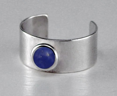 A Delightful Sterling Silver Ear Cuff Accented with Genuine Lapis Lazuli