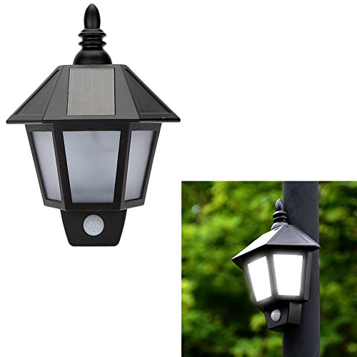 Easternstar LED Solar Wall Light Outdoor Solar Wall Sconces Vintage Solar Motion Sensor Lights ...