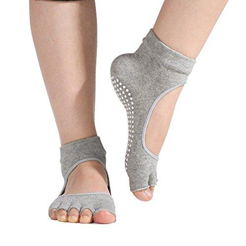 Calze da Yoga - Feelme 2 Coppie Calzini e Fitness Donna Suola ABS Antiscivolo Imbottita per Barre Pilates Danza