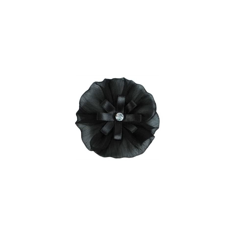 Yo Yo Organza Flower with Rhinestone Brooch Pin Hair Clip Accessory
