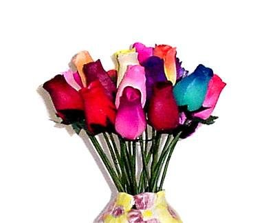One Dozen Bouquet of Assorted Wooden Roses – Artificial Flowers