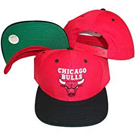 c2f9310e597 Chicago Bulls Red Black Two Tone Snapback Adjustable Plastic Snap Back Hat    Cap  Sports   Outdoors