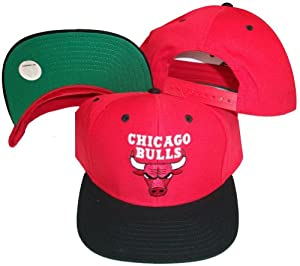 Chicago Bulls Red/Black Two Tone Snapback Adjustable Plastic Snap Back Hat / Cap