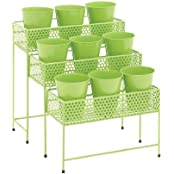 The Simple Metal 3 Tier Plant Stand Green