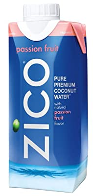 ZICO Pure Premium Coconut Water, Passion Fruit, 11.2 Ounce Tetra Paks (Pack of 12)