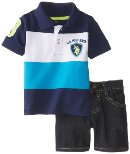 U.S. Polo Assn. Baby-Boys Newborn Cut And Sew Polo With Denim Short Set, Turquoise, 3/6 Months