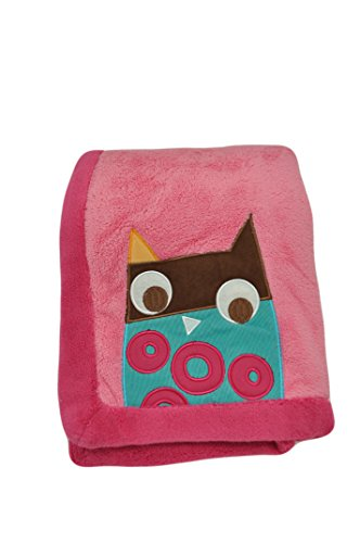 Zutano Blue Owl Bright Embroidered Boa Blanket Pink