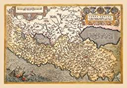 30 x 20 Stretched Canvas Poster Map of Northern Italy