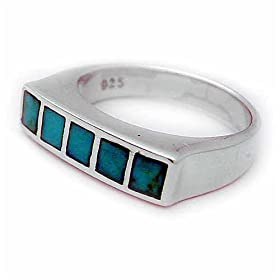 Sterling Silver Single-Row Turquoise Inlay Ring