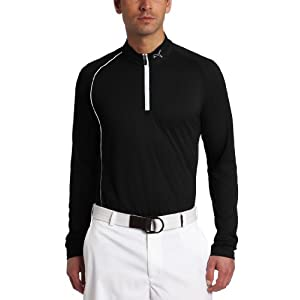 Puma Men's Golf 1/4 Zip Long Sleeve Polo, Black, X-Large