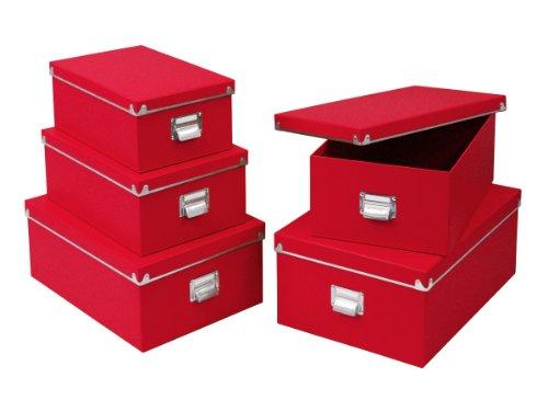 zeller 17917 scatola per archiviazione in cartone 31 x 26 x 14 cm colore rosso. Black Bedroom Furniture Sets. Home Design Ideas