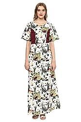 MARTINI White Princess- Cut Floral Polycrepe Full Length Maxi Dress