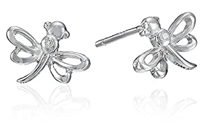 Sterling Silver Children's Dragonfly Button Earrings