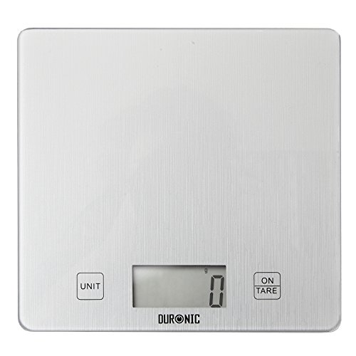Duronic KS1080 Glass Platform Silver Digital Display 5KG Kitchen Scales with 18cm Diameter and 2 Years FREE Warranty