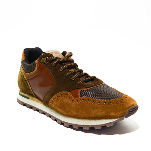 Brimarts sneakers uomo pelle Cognac lavagna made in italy art.318566 42