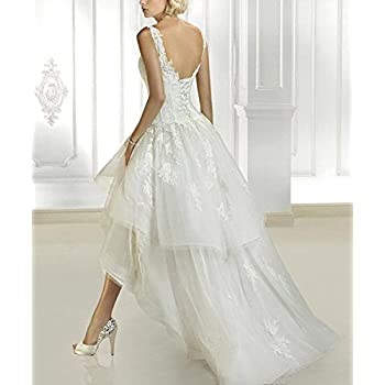 Abaowedding Women's Lace Sleeveless Tea Length Wedding Dresses Vintage Bridal Gowns