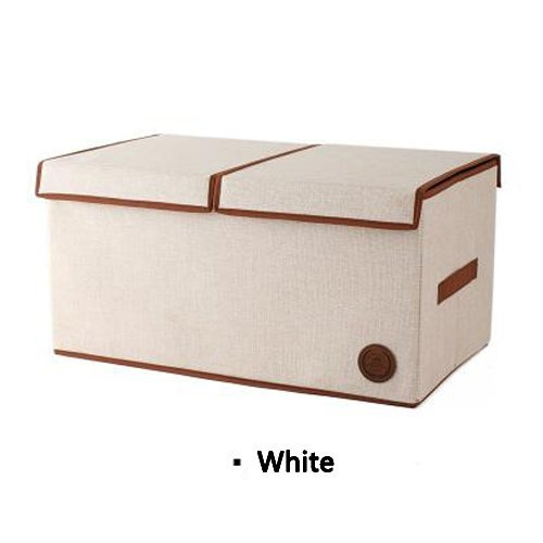 UQueen UQ6002 Simple Fashion Household 41L Extra Large Capacity Linen Double Open Clothing Toy Quilt Wardrobe Collapsible Finishing Storage Box Basket Case Organizer with Handle and Lid (White) (Extra Large Dresser compare prices)