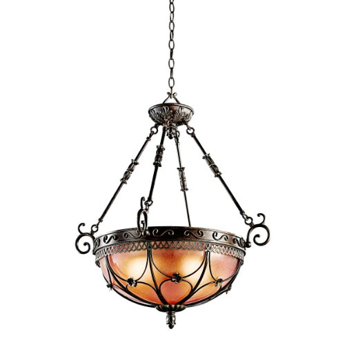 B002LN80QU Kichler Lighting 42229TRZ Marchesa 3-Light Inverted Pendant, Terrene Bronze with Piastra Glass