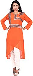 Touch Patiala Women's Georgette Regular Fit Kurta (Orange, X-Large)