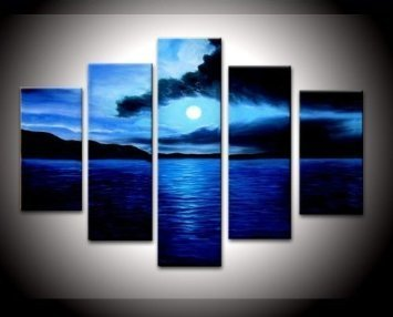 Zartsy 100% Hand Painted Abstract Landscape Dark Blue Ocean White Sun Artwork Home Wall Decor Art Oil Paintings on Canvas with Stretched Wood Frame Large Oversized