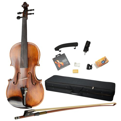 Olymstore(Tm) 4/4 Full Size Handmade Violin With Case, Shoulder Rest, Electronic Tuner, Violin Strings And Brazilwood Bow