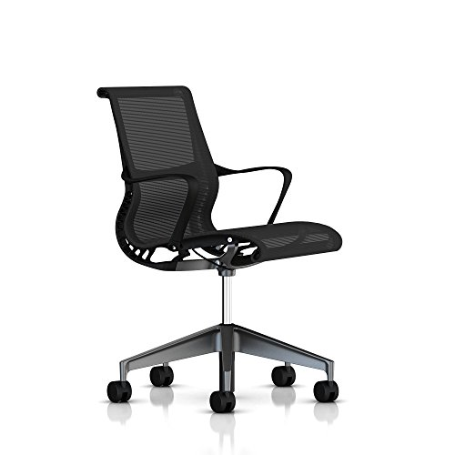 Great Setu Chair by Herman Miller With Arms Alloy Base Graphite Frame Star base with standard carpet casters