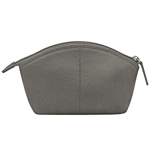 ili New York 6480 Leather Cosmetic Makeup Case (Grey) (Color: Grey, Tamaño: One Size)