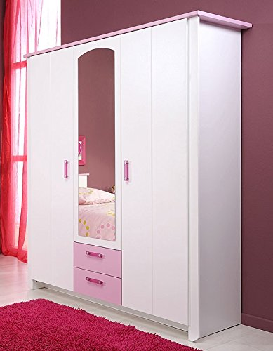 Kleiderschrank weiß rosa 3-türig, 136x181x56cm, Schlafzimmerschrank Drehtürenschrank Beauty 10 jetzt bestellen