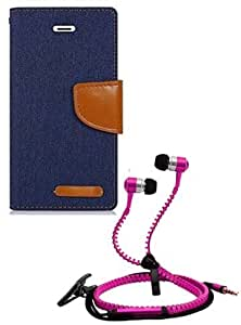 Aart Fancy Wallet Dairy Jeans Flip Case Cover for MicromaxA104 (NavyBlue) + Zipper Earphones/Hands free With Mic *Stylish Design* for all Mobiles- computers & laptops By Aart Store.