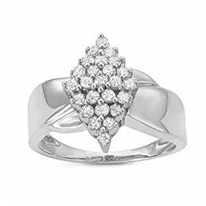 1/2CTTW Diamond Marquise-shaped Cluster Warerfall Ring in Sterling Silver