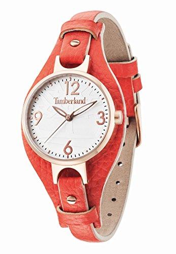 Timberland - TBL.14203LSR-01 - Deering - Montre Femme - Quartz Analogique - Cadran Argent - Bracelet Cuir Orange