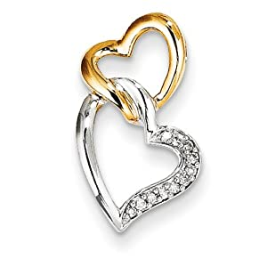 IceCarats Designer Jewelry 14K Two-Tone Diamond Heart Slide