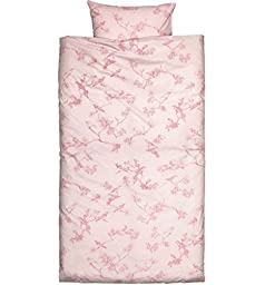 French Country Vintage Style Bedding Toile Birds Duvet Cover 2pc Set Twin Single Size 100% Cotton Blush Pink or Grey Flowers Branches Cherry Blossom Girly Bedding (Pink)