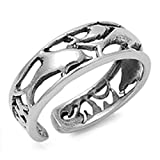 Adjustable Size Toe Ring Solid 925 Sterling Silver Dolphins Design Toe Ring (6mm)