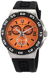 Swiss Military Calibre Men's 06-4R2-04-001 Racer Chronograph White Dial Black Rubber Watch