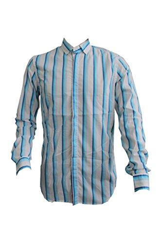 Paolo Pecora Camicia Bottom Down Bianca con Righe Verticali Azzurre/Blu Tg. M Dimensione Collo 15 1/2 (39) Made in italy