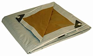 Dry Top 218244 18-by-24 10-Millimeter Super Heavy-Duty UV Treated Tarp, Silver/Brown Reversible