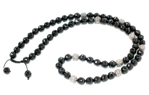 Shamballa Necklace 30 Inches 10mm Faceted Black Onyx with Nine 10mm Gunmetal Black Diamond Crystal Pave Beads Adjustable Macrame Closure Unisex