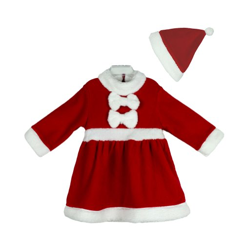 Baby Girls Christmas Santa Claus Costume DRESS + HAT 2-piece Outfit