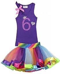 Bubblegum Divas Little Girls\' 6th Birthday Princess Crown Rainbow Tutu Shirt Outfit