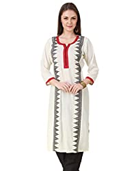Noor- Embroidered Rayon Kurti with Patchwork Neck