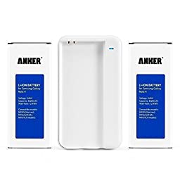 Anker 2 x 3220mAh Replacement Li-ion Batteries for Samsung Galaxy Note 4 with Anker Travel Charger
