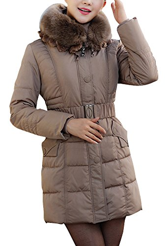 Hgje Women'S Winter Feather Hoodie Belted Faux Fur Down Coats Parka 3Xl Khaki