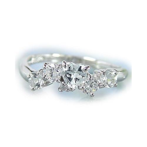 [アトラス] Atrus アクアマリン リング ハートリング ホワイトサファイア ダイヤモンド ダイヤ プラチナ900 リング 指輪 プラチナリング 12号 ファッションリング