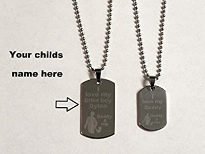Crafts Hand Crafted Engraved Dad Son Daddy and Me Little Boy Kids Love Fathers Day Mom Pendant Necklace Set